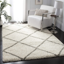Safavieh Hudson Shag Collection Ivory and Grey Moroccan Diamond Trellis Area Rug