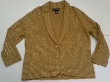 JONES NEW YORK SIGNATURE WOMAN Gold Shiny Shawl Collar Cardigan Sweater 2X