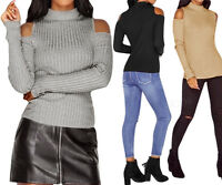 Womens Long Sleeve Knitted Tops Blouse Off Shoulder Pullover Sweater Slim Jumper
