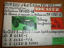 DEUTZ tracteur D25 .2 - D30 - D30S : catalogue de pièces Z1125-1/2