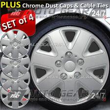 "13"" Silver 7 Spoke Car Wheel Trims Hub Cap Covers + Free Cable Ties & Dust Caps"