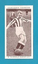 COVENTRY CITY FC Sky Blues WILLIE McDONALD TRANMERE ROVERS MUFC 1938 card