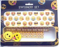 Emoji Pencil Case Stationary School Set Pencil Ruler Rubber Tin Gift Kids