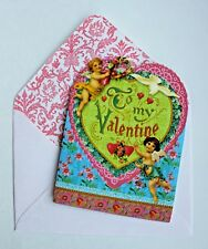 PUNCH STUDIO Set of 6 Die-Cut Valentine Blank Note Cards ~ Floral ~ Cherubs