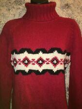 Comfy bulky turtleneck sweater red black alpine lodge print M wool blend SONOMA