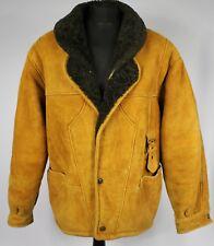Shearling Leather Suede Vintage Sheepskin Jacket Tan Brown UK 20 EU 48 DL027