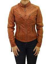Ladies Brown Tan Real Leather Fitted Smart Short Zipped Biker Collarless Jacket