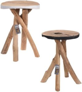 Handmade Small Wooden Step Stool Round Foot Sitting Side Table Plant Pot Stand
