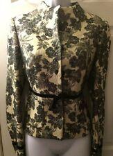 MAGASCHONI Black & Ivory Floral  Coat Jacket Blazer Velvet Trim Wool Blends Sz 6