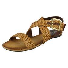 Scarpe da donna marrone in gomma con cinturino