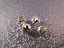 Sterling Silver Hollow Round Corrugated Bead Spacer 5mm 4pcs
