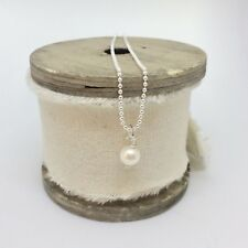 """Sterling Silver 18"""" Ball Chain with Freshwater Pearl Pendant"""
