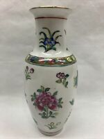 "Vtg Collectible 8"" Tall Flower Vase, Asian Pottery, Floral Pattern, Gold Accent"