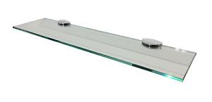 Clear Glass Floating Wall Mounted Bathroom Shelf with Chrome Brackets 50 x 12cm
