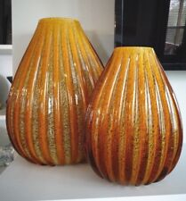 (2) Large SEGUSO Murano Art Glass Amber RIBBED Goldstone Golden VASES MUSEUM