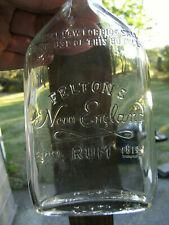 FELTON'S New England Rum flask(empty) 1/2 Pint. Embossed label,  1948