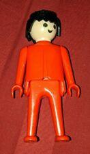 Vintage 1974 Playmobil Geobra FigurePerson All Red outfit Guy Figurine RARE HTF