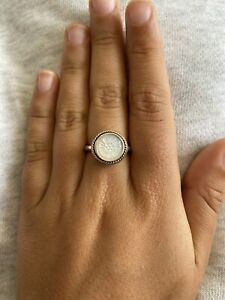 PANDORA S/S & 14ct GOLD 'MOTHER OF PEARL DAISY SIGNET' RING #190859MOP - SIZE 60