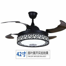 """Remote Control 42""""Retractable Ceiling Fan LED Dimming Bluetooth Music Chandelier"""