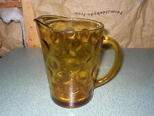 VTG HAZEL ATLAS AMBER GLASS HEAVY Ice Tea Water Pitcher Circle Dot Pattern