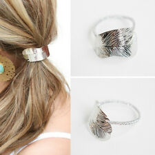 2Pcs Hair Band Rope Holder Chic Leaf Headband Women Ponytail Elastic Accessories