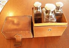 Vintage Glass Perfume Bottle Travel Set With Leather Case Cap Over Stopper