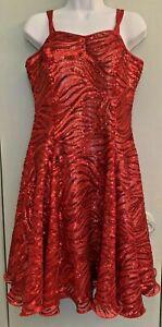 Dance Sophistics Size 16 Red Sequin Valentines Dress Semi Sheer Lined Bra Bodice
