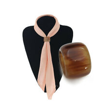 Gift for Lady Girls Silk Scarves Natural Buffalo Horn Scarf Ring Buckle Fashion