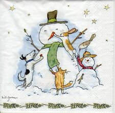 4x PAPER NAPKINS for Decoupage SNOWMAN WITH FRIENDS Christmas