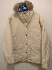 Woolrich Down Parka Coat Hooded Jacket COYOTE Fur Trim womens Size L USA