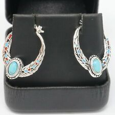 Oval Turquoise Earring Women Holiday Jewelry 14K White Gold Plate Nickel Free