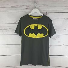 Batman Vintage Distressed Logo Charcoal Mens TShirt Size S Small