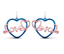 Blue and pink love and heart dangle earrings