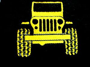 JEEP DESIGN, EMBROIDERED HAND TOWEL, BLACK TOWEL,YELLOW JEEP