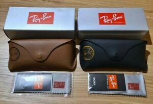 Ray Ban Black + Brown Sunglasses Case Box and Cloth included