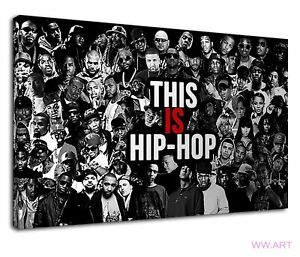 Hip Hop Stars All Over The World Black And White Canvas Wall Art Picture Print