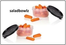 TUPPERWARE SERVING CENTER SNACK CUP PAIR Set 2 Black Snack Cups containers 8 oz