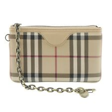 Authentic Burberry Pouch Chain Multi-Color Canvas #f456292