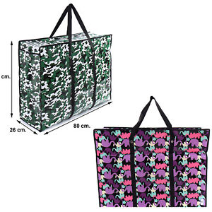 2x Large Moving Laundry Strong Shopping Bag ARMY ELEPHANT Storage Reusable Zip