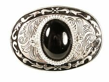 Western Silvertone Stone Black Belt Buckle Unbranded Made USA 42216