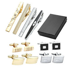 12pcs Mens Vintage Stainless Steel Crystal Cufflinks + Tie Bar Clip Set Assorted