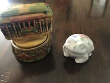 Vintage San Francisco Music Box Company Frog Jewelry Box &Sf Trolley Ceramic Lot