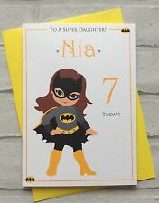 Handmade Personalised Bat Girl Superhero Birthday Card (Daughter Sister Niece)