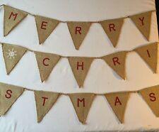 🎄Festive Christmas Bunting - Burlap Hessian Rustic String Detail 9ft🎄🎅🏻