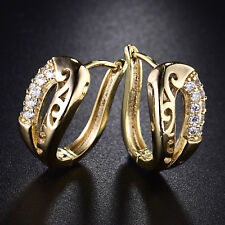 Hollow Shell Style Yellow Gold Filled Crystal Sapphire Women Lady Hoop Earrings