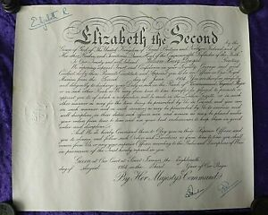 1954 Royal Marine early Queen Elizabeth II signed Military Commission