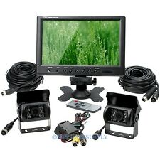 "Full Truck Trailer Reversing Kit 9"" LCD Monitor Backup 2 CCD IR Camera 12V -24V"