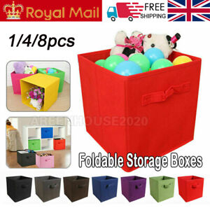 2/4/6/8Foldable Canvas Storage Folding Box Fabric Cube Cloth Basket Collapsible