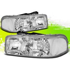 DRIVER+PASSENGER SIDE HEADLIGHT/LAMPS CHROME CLEAR FOR 99-07 GMC SIERRA/YUKON