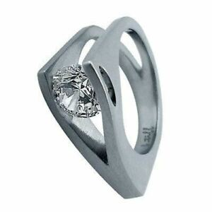 BTiff Tension Set Stainless Steel 2Ct Wishbone Solitaire Ring Sizes 4 - 10